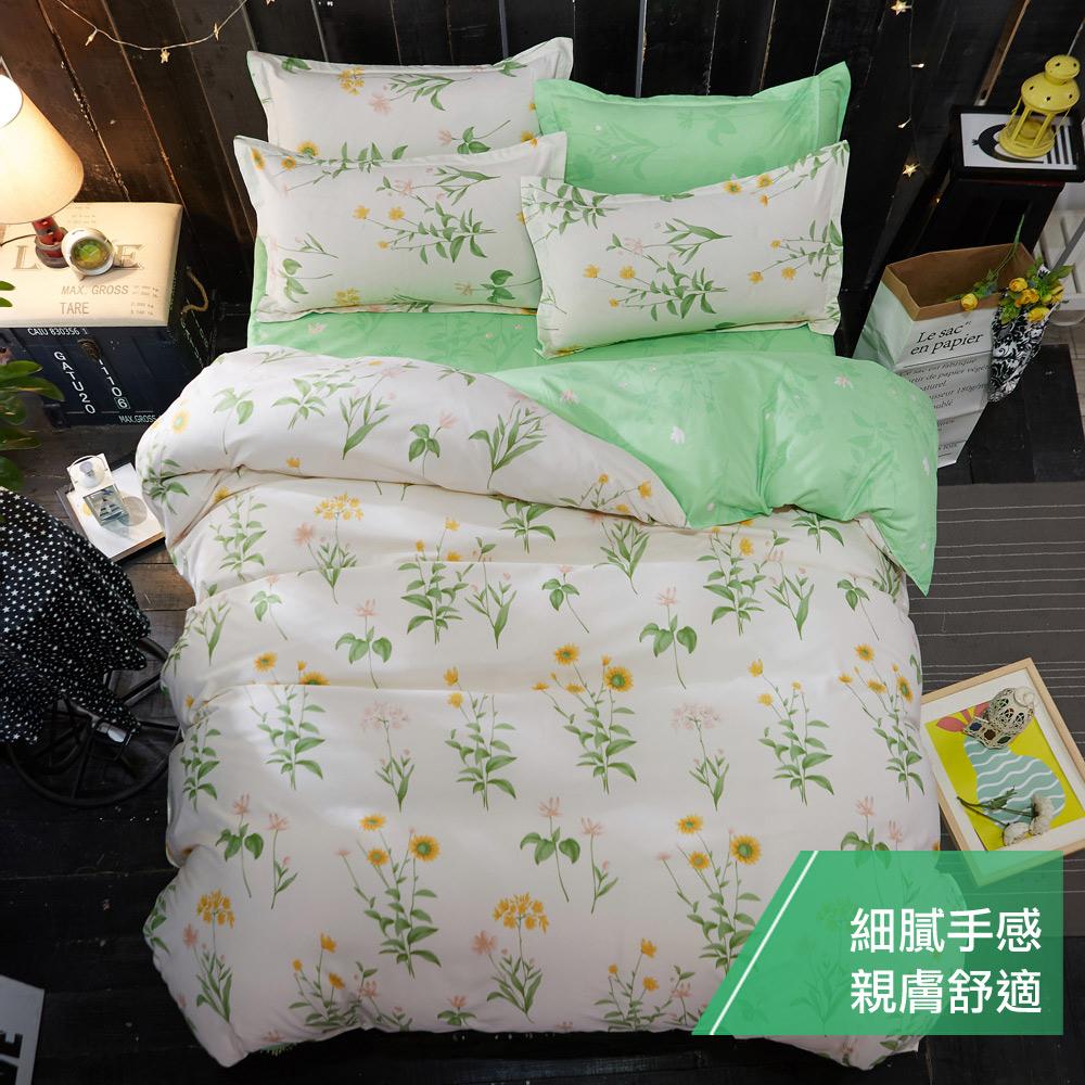 【eyah 宜雅】台灣製時尚品味100%超細雲絲絨雙人加大床包枕套3件組-青青草園