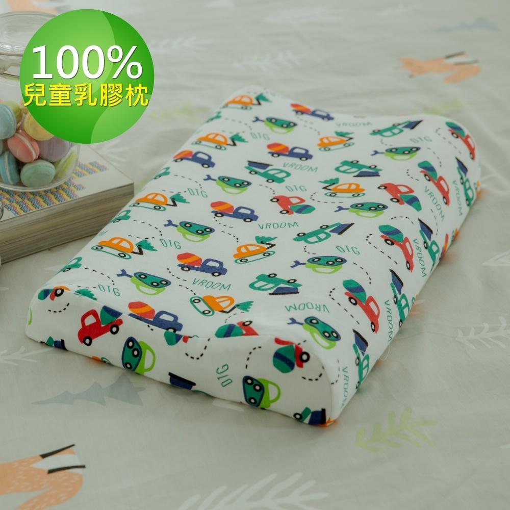 【Leafbaby】100%天然乳膠兒童枕1入-車車噗噗走