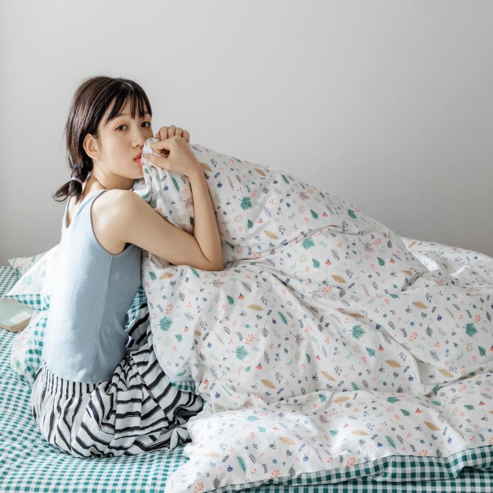 【KOKOMO'S扣扣馬】MIT天然精梳棉200織紗雙人床包3件組-孟夏之戀
