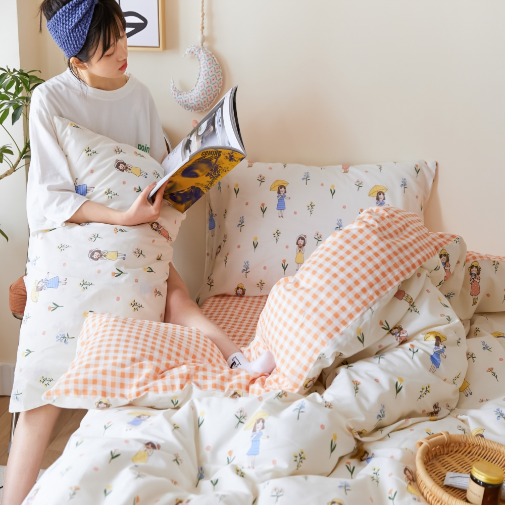 【KOKOMO'S扣扣馬】MIT天然精梳棉200織紗雙人加大床包3件組-閒遊人間