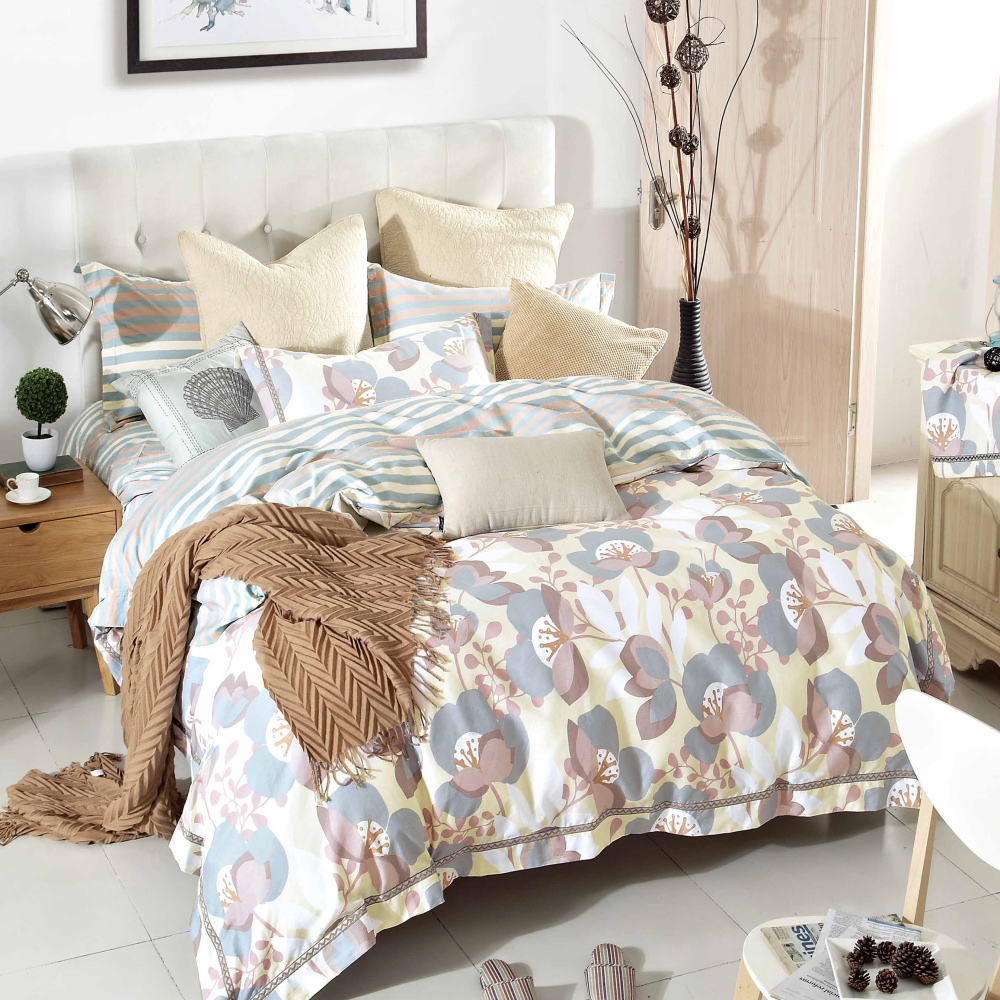 【eyah】台灣製200織精梳棉雙人床包枕套3件組-淡妝伊人