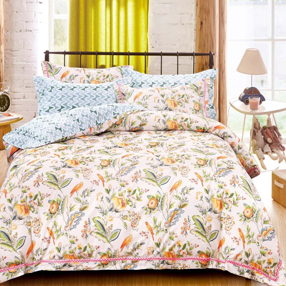 【eyah】台灣製200織精梳棉雙人床包枕套3件組-風采動人