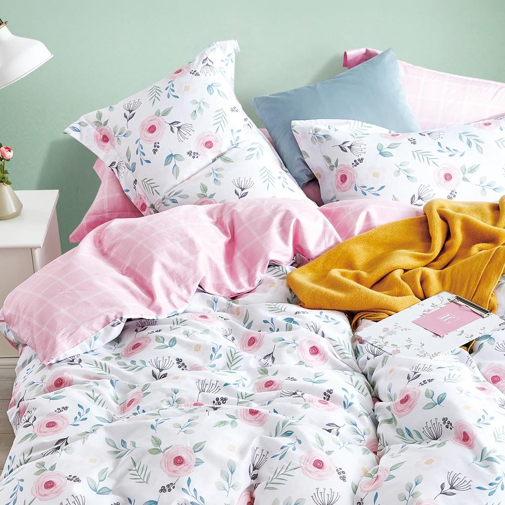 【eyah】台灣製200織精梳棉單人床包雙人被套三件組-恬靜花粉