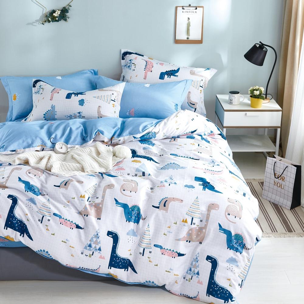 【eyah】台灣製200織精梳棉單人床包新式兩用被四件組-訓龍高手