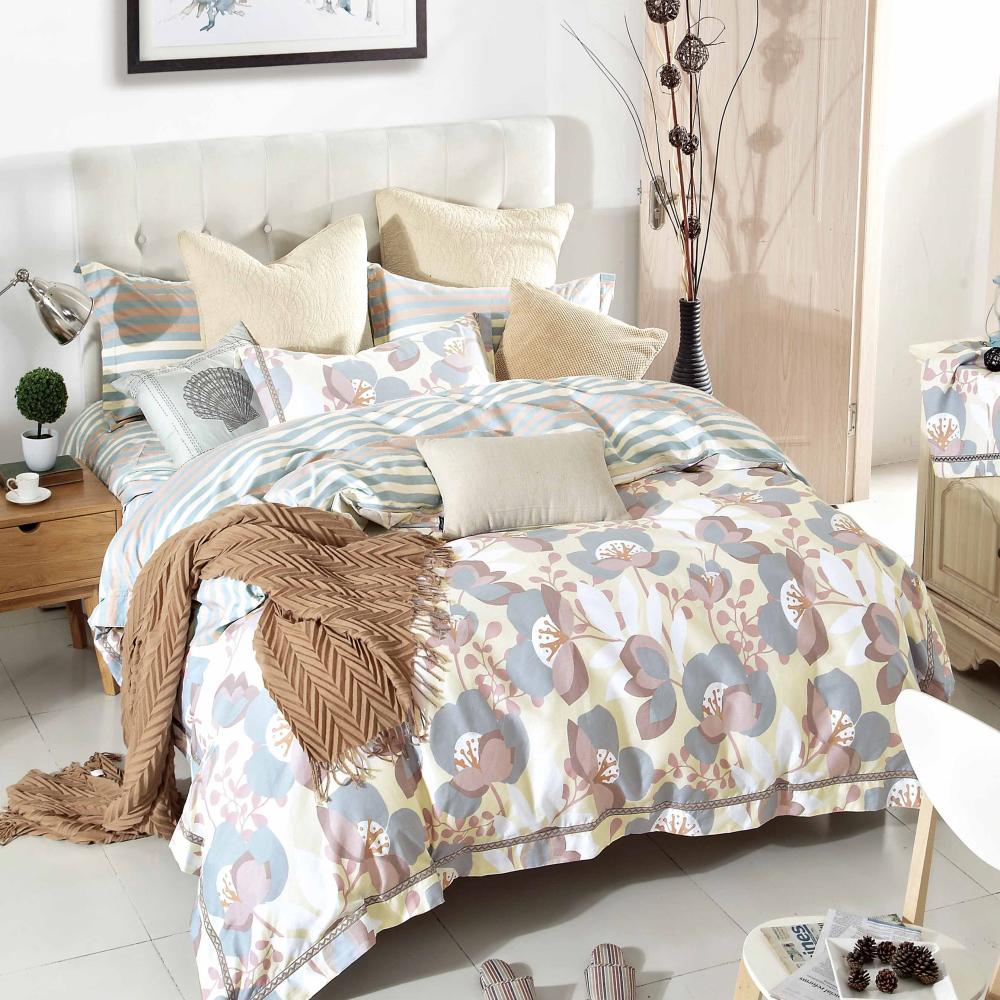 【eyah】台灣製200織精梳棉雙人床包新式兩用被五件組-淡妝伊人