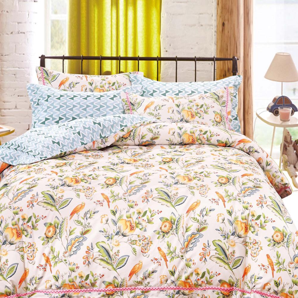 【eyah】台灣製200織精梳棉雙人床包新式兩用被五件組-風采動人