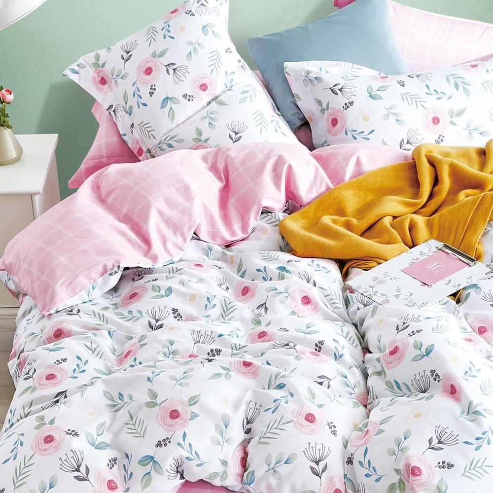 【eyah】台灣製200織精梳棉加大床包新式兩用被五件組-恬靜花粉