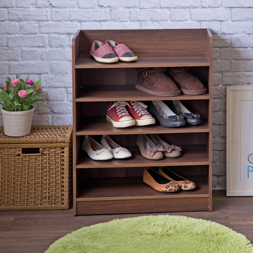 【TZUMii】艾拉開放式五層鞋櫃-胡桃木色