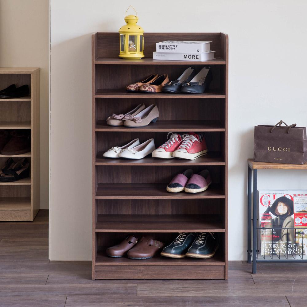 【TZUMii】艾拉開放式七層鞋櫃-胡桃木色
