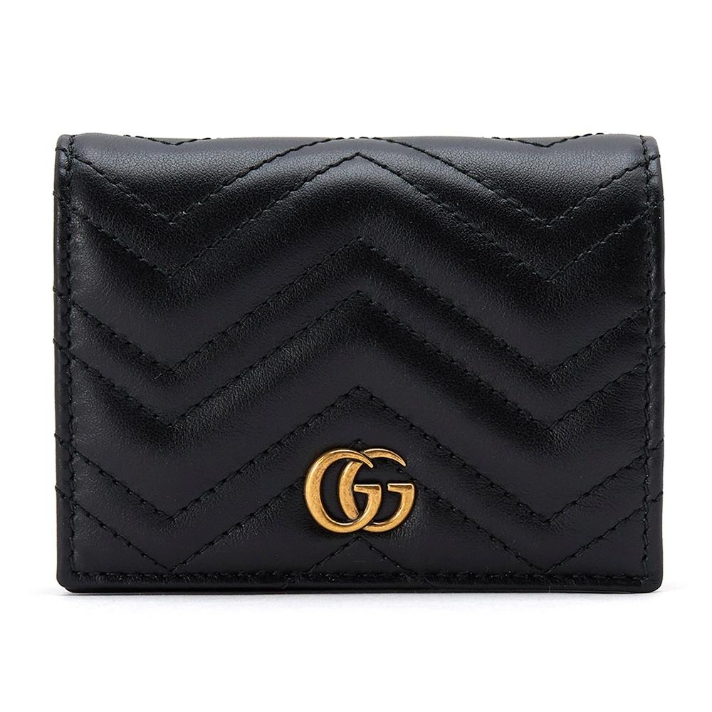 GUCCI GG Marmont系列仿舊金色雙G LOGO牛皮山字車紋卡夾/零錢短夾 黑色