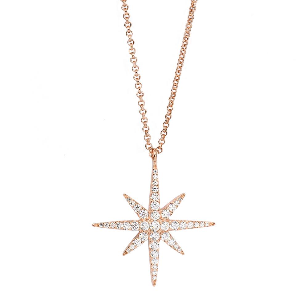 apm MONACO法國精品珠寶 閃耀玫瑰繁星鑲鋯項鍊 RP9606OX