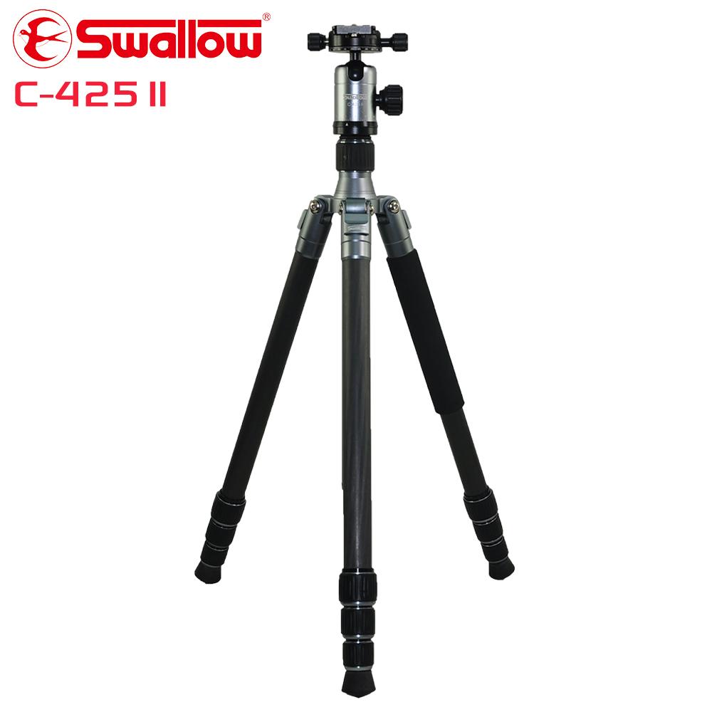 Swallow C-425 II 碳纖四節反折式腳架(附攝影雲台)