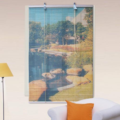 棉花田【池畔】彩色天然竹捲簾(90x160cm)