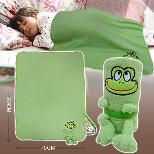 棉花田【俏皮蛙】兒童創意隨意毯(70x90cm)_綠色70x90cm