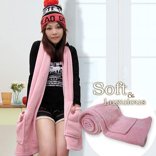 棉花田【樂邁】超細纖維創意保暖圍巾-粉色_粉色