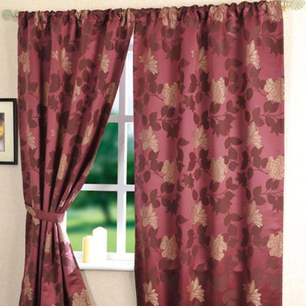 棉花田【米蘭】緹花穿掛兩用半腰窗簾-紫紅色(200x170cm)