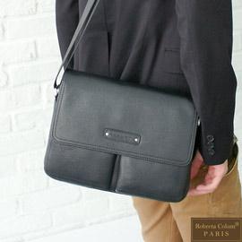 Roberta Colum - 時尚鉚釘軟牛皮多口袋功能側肩背包-深黑