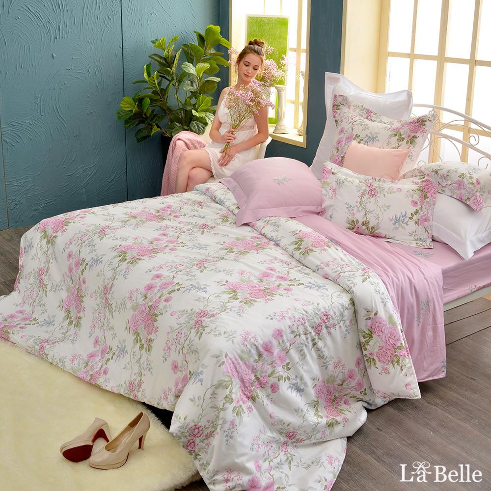 義大利La Belle《花曜薔薇》特大純棉防蹣抗菌吸濕排汗兩用被床包組