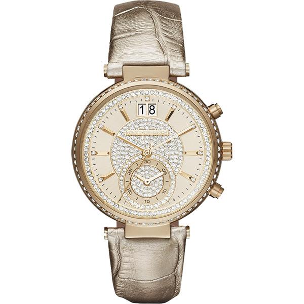 Michael Kors Sawyer 名媛晶鑽計時腕錶-金/39mm  MK2444