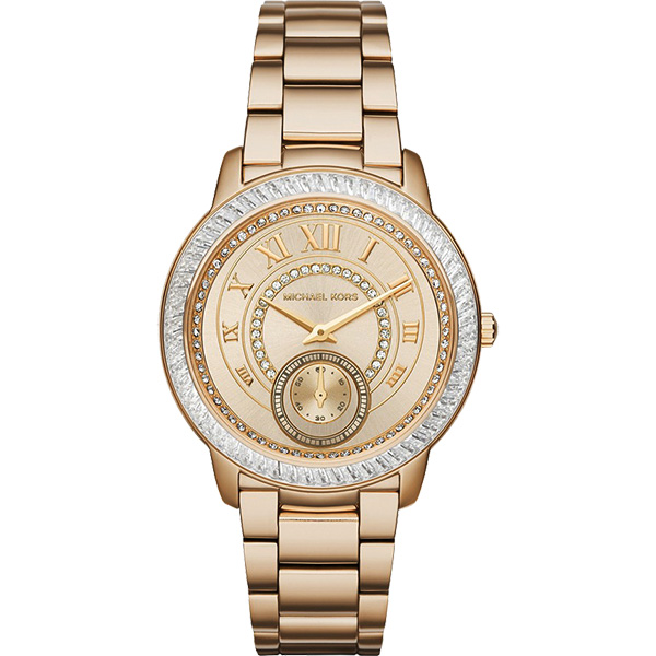 Michael Kors 羅馬風情晶鑽小秒針腕錶-金/40mm  MK6287