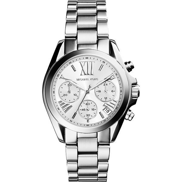 Michael Kors 羅馬假期三眼計時腕錶-銀/35mm  MK6174