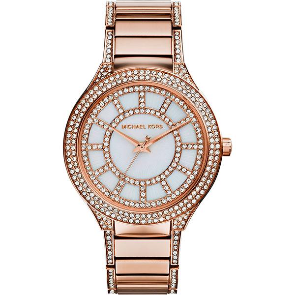 Michael Kors 繁星綻放晶鑽時尚腕錶-珍珠貝x玫瑰金/36mm  MK3313