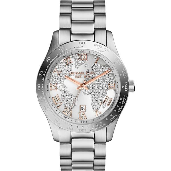 Michael Kors 晶鑽世界地圖時尚腕錶-銀白  MK5958