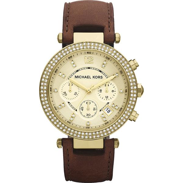 Michael Kors 美式奢華晶鑽三眼計時腕錶-金  MK2249
