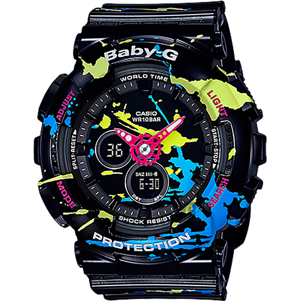 CASIO 卡西歐 Baby-G 油漆塗鴉雙顯錶-黑 BA-120SPL-1ADR