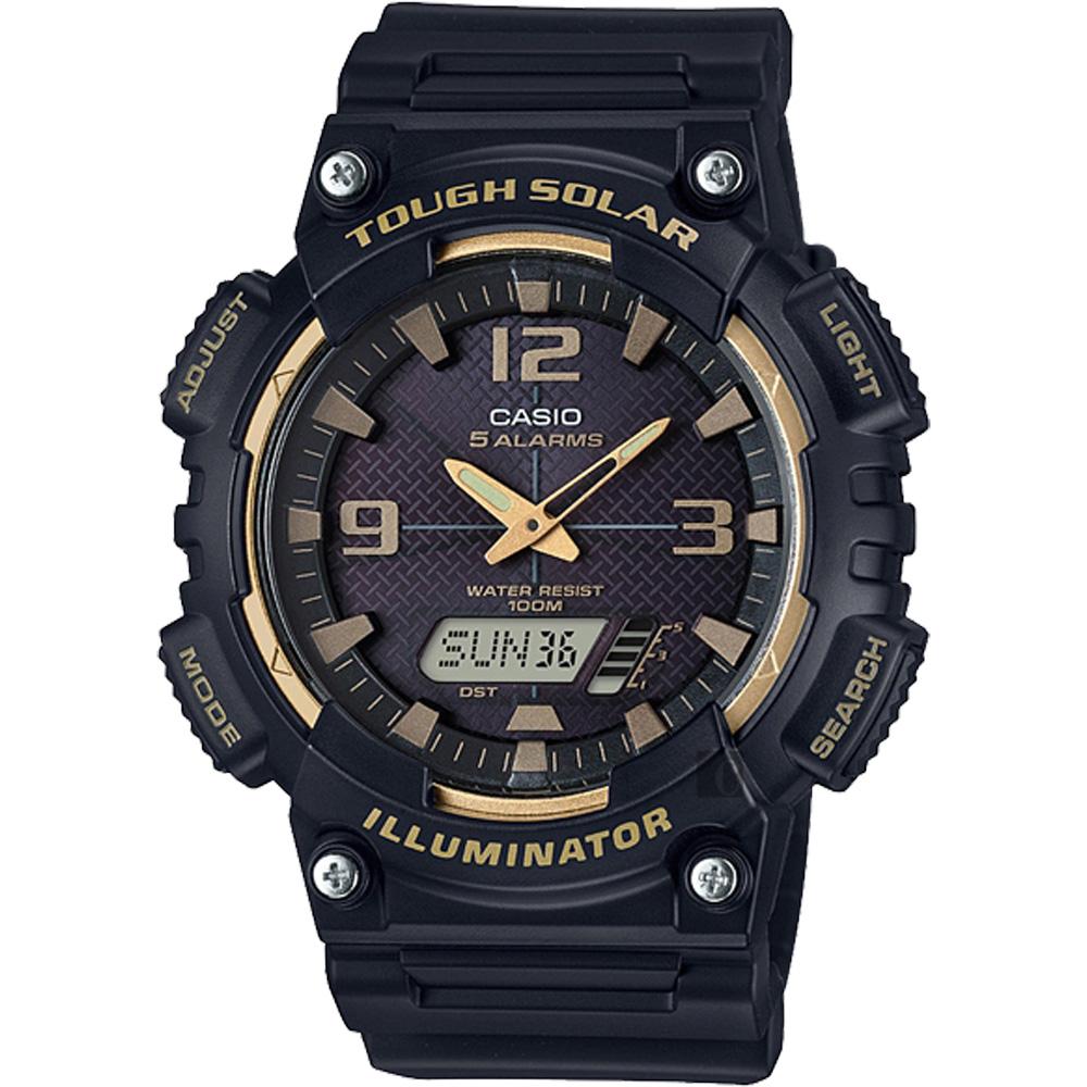 CASIO 卡西歐 太陽能電力雙顯錶-黑金 AQ-S810W-1A3VDF