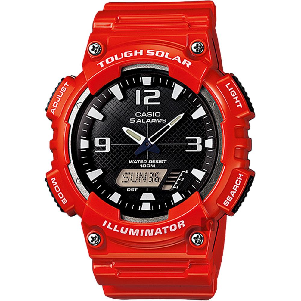 CASIO 卡西歐 太陽能電力雙顯錶-紅 AQ-S810WC-4AVDF