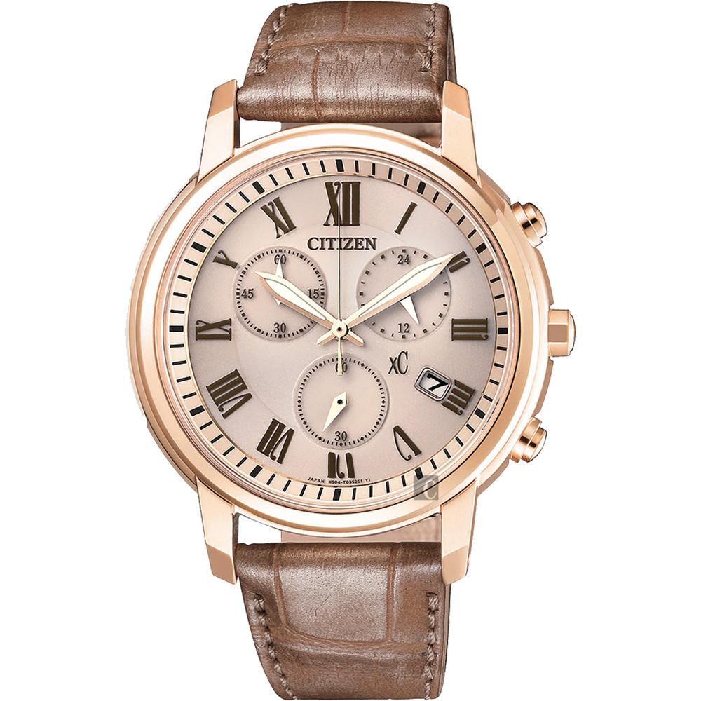 CITIZEN 星辰 XC 光動能羅馬計時女錶-香檳金x褐色/38mm FB1433-01P