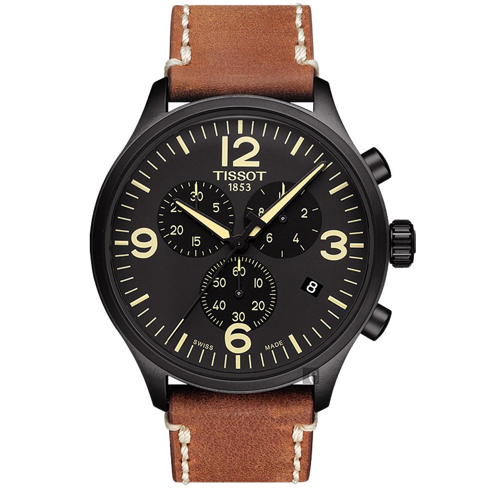 TISSOT 天梭 韻馳系列 Chrono XL計時手錶-黑x咖啡/45mm T1166173605700