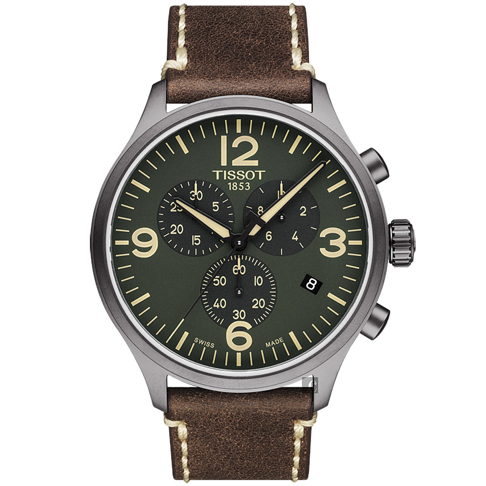 TISSOT 天梭 韻馳系列 Chrono XL計時手錶-綠x咖啡/45mm T1166173609700