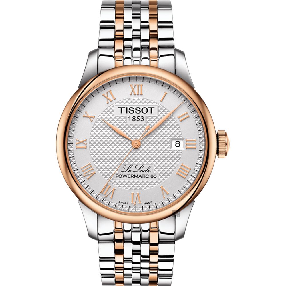 TISSOT 天梭 Le Locle 80小時動力儲存機械錶-銀x雙色/39mm T0064072203300