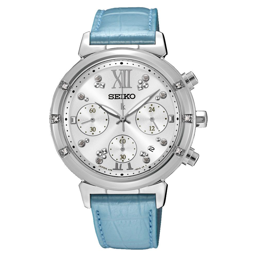 SEIKO LUKIA 限量璀璨太陽能計時碼錶-銀x藍/36mm V175-0DF0B(SSC856J1)