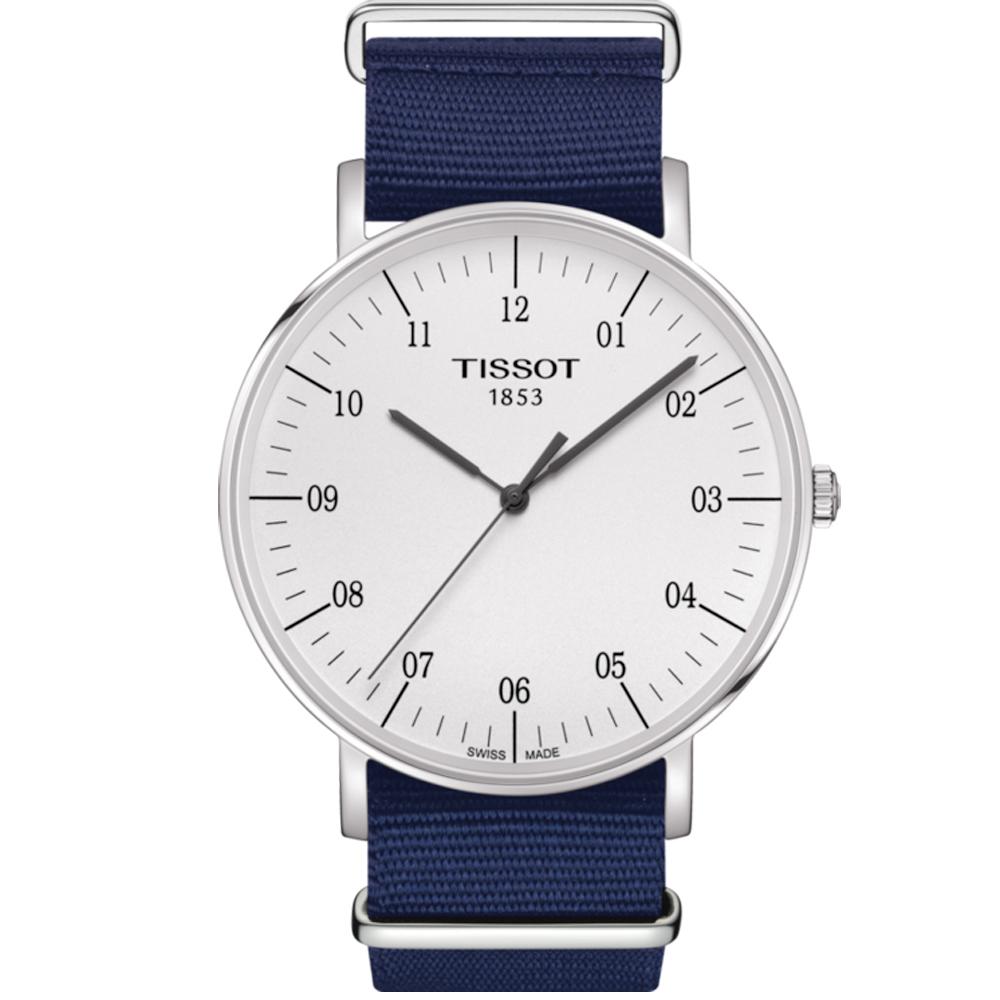 TISSOT 天梭 Everytime 經典雋永腕錶-銀x藍色錶帶/42mm T1096101703700