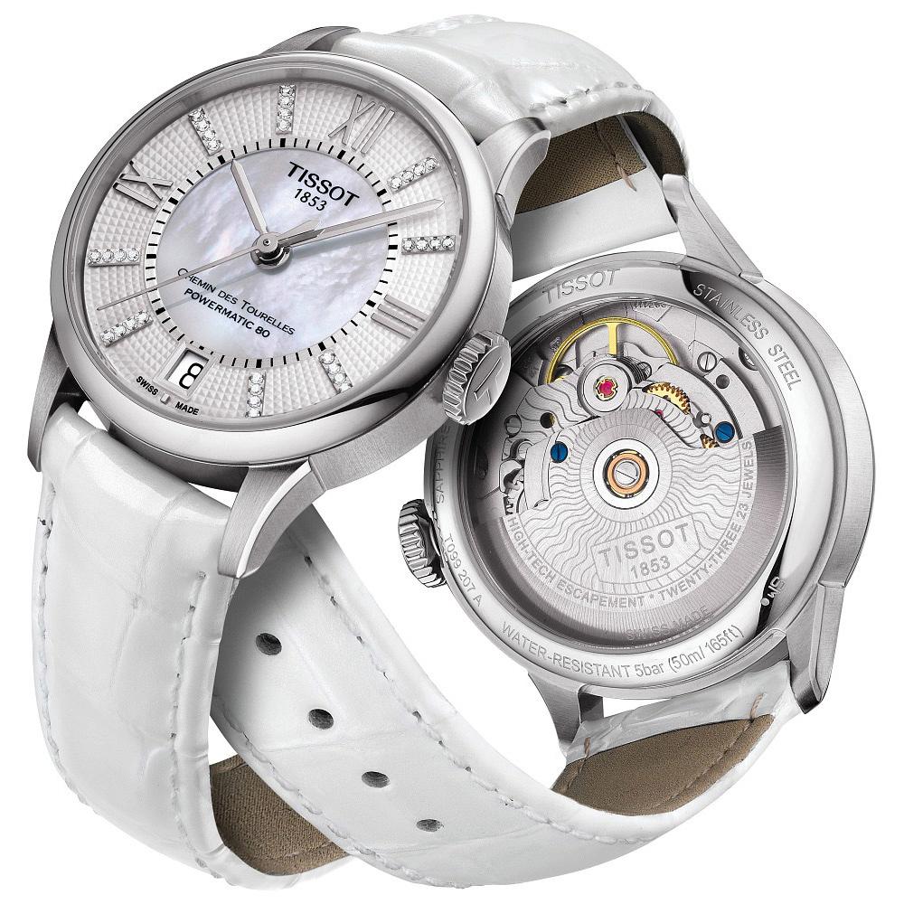 TISSOT 杜魯爾系列真鑽機械動力80腕錶-珍珠貝x白/32mm T0992071611600