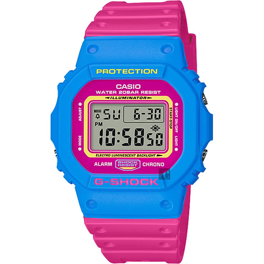 CASIO 卡西歐 G-SHOCK 80年代經典多彩電子錶-桃紅x藍 DW-5600TB-4BDR