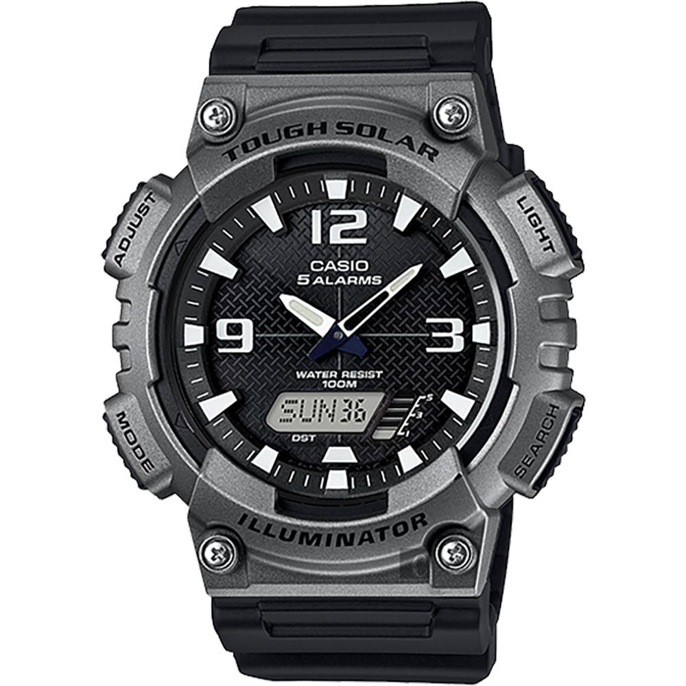 CASIO 卡西歐 太陽能電力 金屬色運動錶-鐵灰 AQ-S810W-1A4VDF