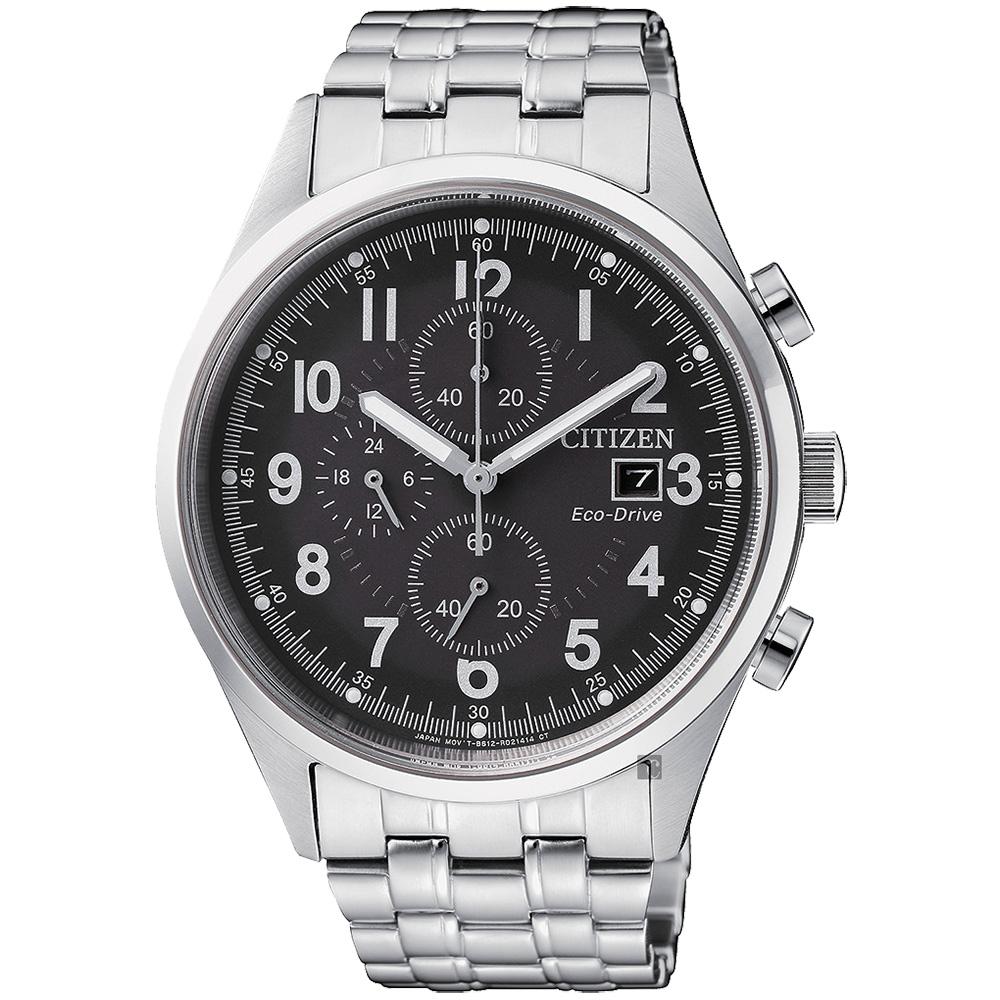 CITIZEN 星辰 Chronograph 光動能計時手錶-黑x銀/42mm CA0620-59H_F