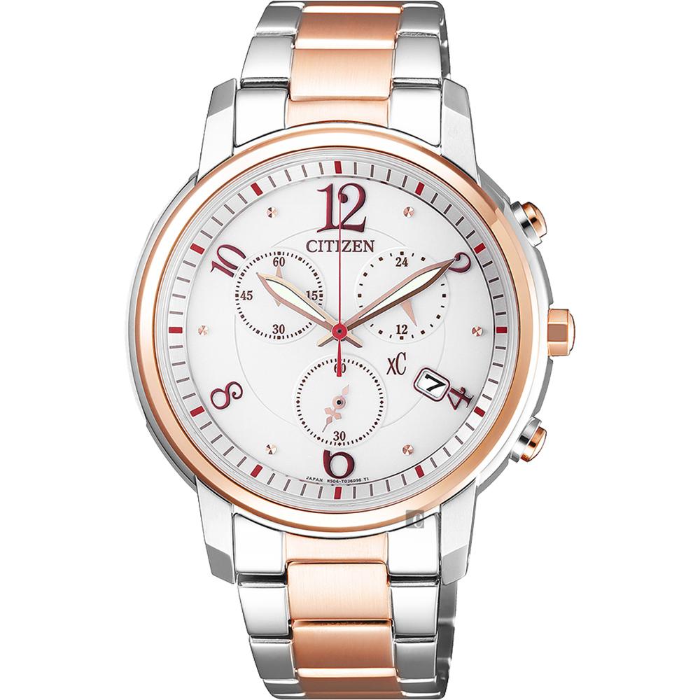CITIZEN 星辰 XC 光動能計時女錶-雙色版/37mm FB1435-57A