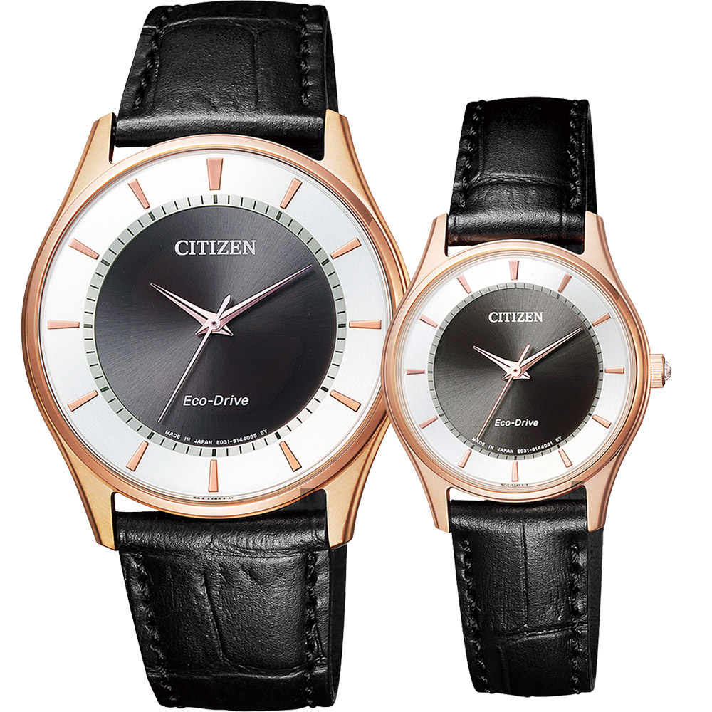 CITIZEN 星辰 光動能城市對錶-玫瑰金框x黑/36+27mm BJ6482-04E+EM0402-05E