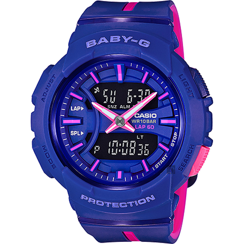 CASIO 卡西歐 Baby-G 慢跑亮彩手錶-藍x桃紅 BGA-240L-2A1DR