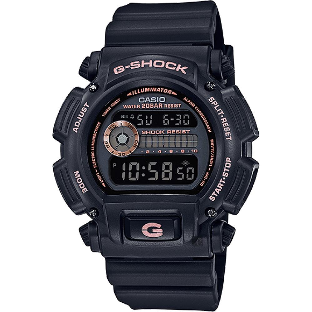 CASIO 卡西歐 G-SHOCK 80年代復刻電子錶-黑x玫瑰金 DW-9052GBX-1A4DR