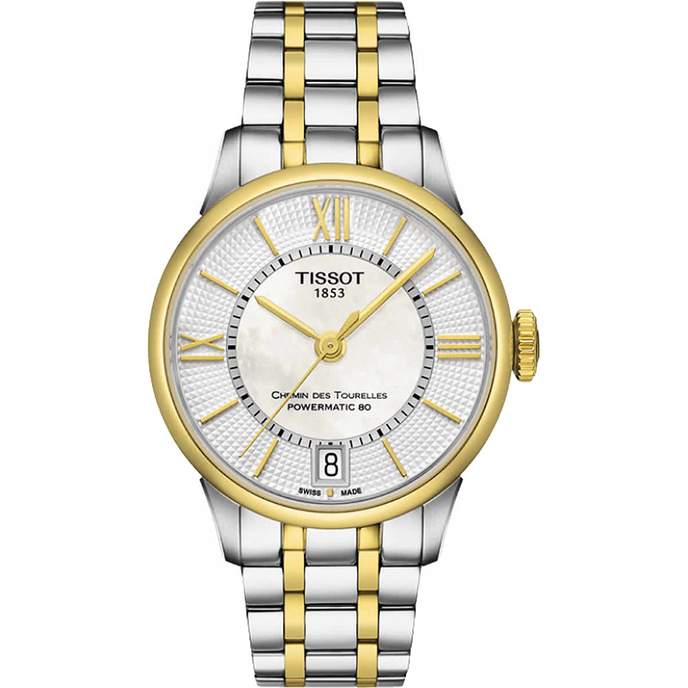 TISSOT 杜魯爾系列機械動力80腕錶-珍珠貝x雙色版/32mm T0992072211800