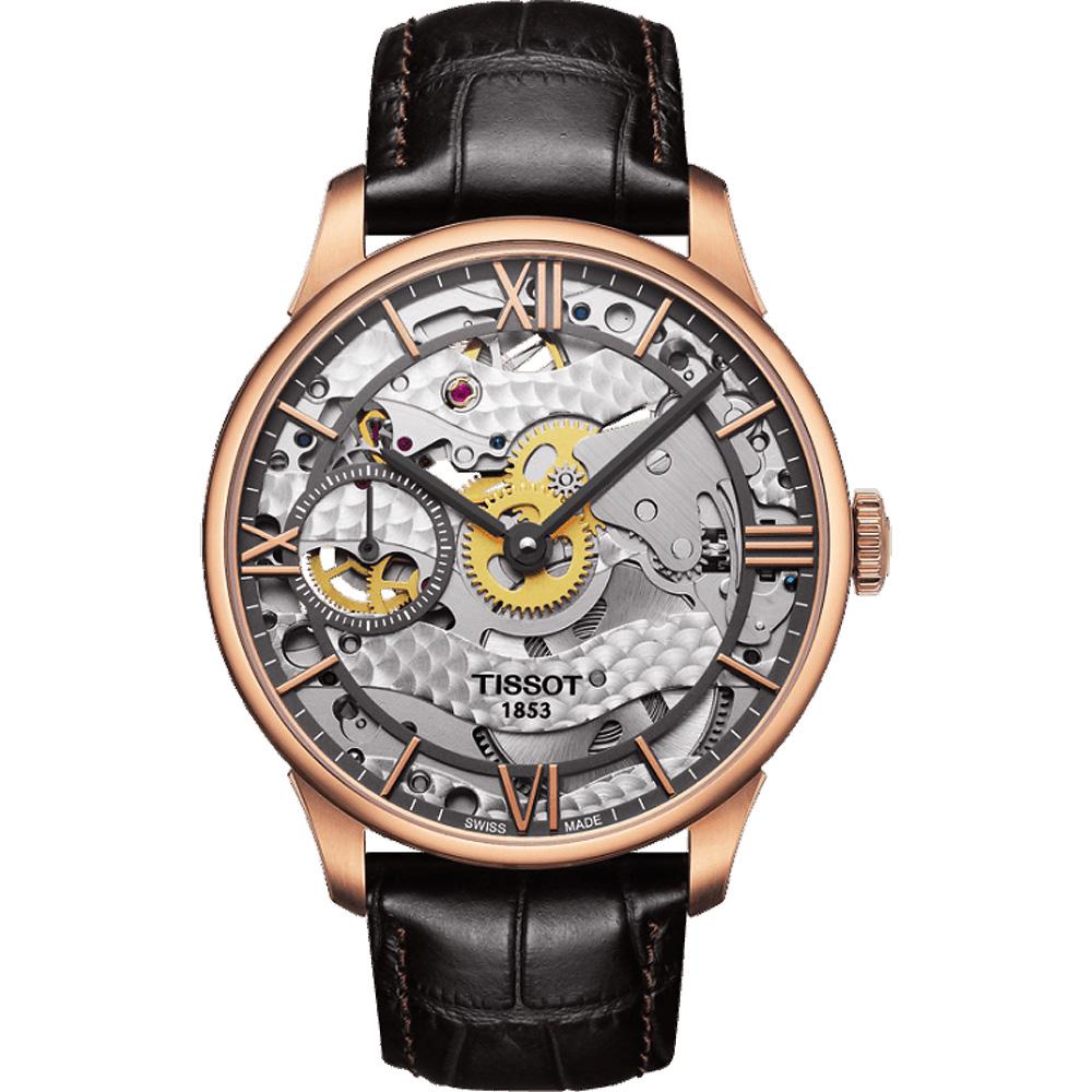 TISSOT 天梭 T-Classic 羅馬精湛鏤空手動上鍊腕錶-玫瑰金框x咖啡色錶帶-42mm T0994053641800