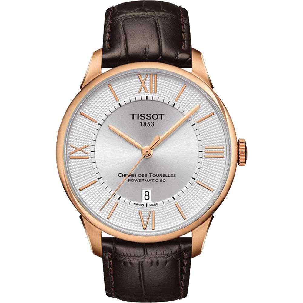 TISSOT 天梭 杜魯爾系列機械動力80腕錶-銀x玫瑰金框x羅馬字/42mm T0994073603800