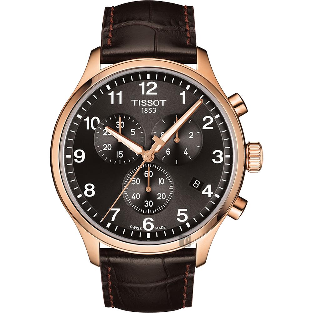 TISSOT 天梭 韻馳系列 Chrono XL計時手錶-灰x玫塊金框/45mm T1166173605701