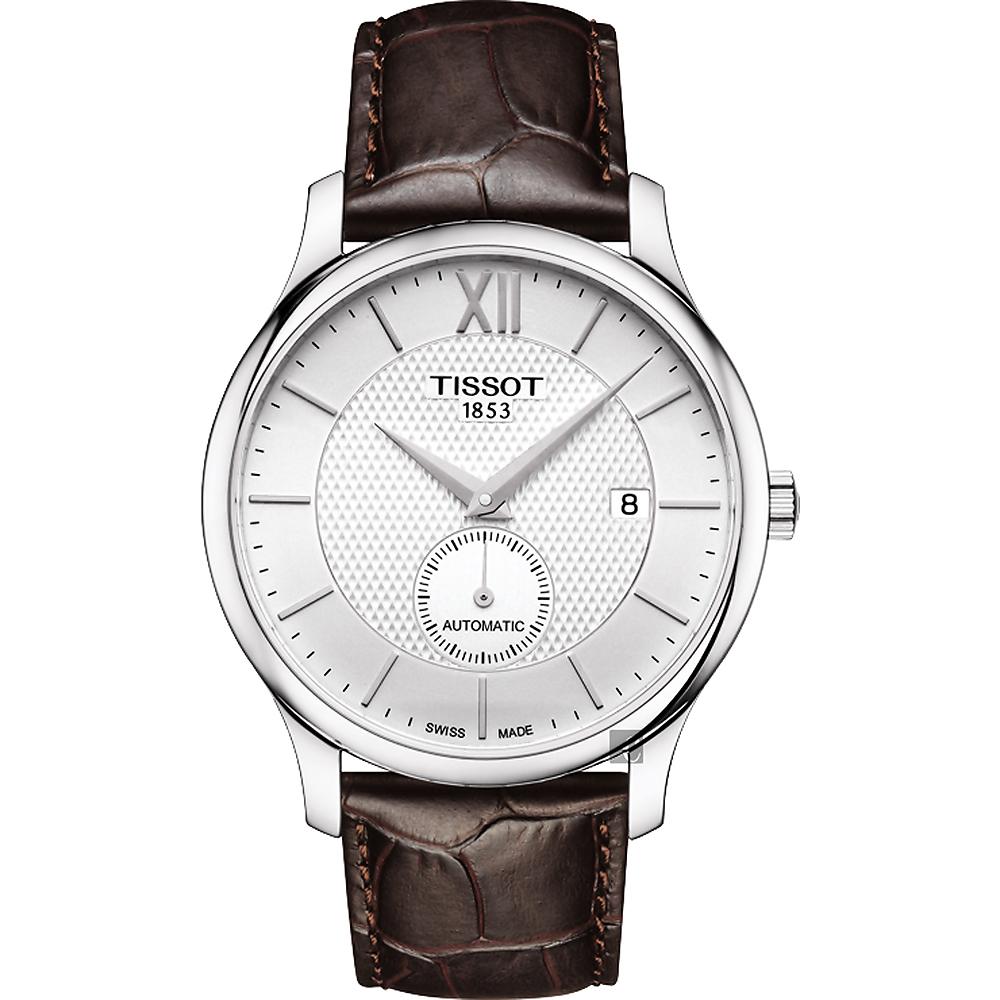 TISSOT 天梭 Tradition 小秒針機械錶-銀x咖啡/40mm T0634281603800